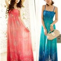 Beach summer dress women's bohemia vest full dress mulberry silk one-piece dress white