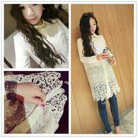 2014 New Fashion Fabric Flower Hem Stitching Locate Ms. Personality Casual Long Shirt