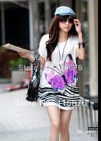 Best Price Fashion Women's Flower Print T-shirt Short Sleeve Sexy Silk Cotton Spring Summer Autumn T shirt For Women 40 Colors