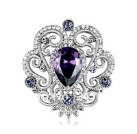 Classic Jewelry Flower Brooch with Purple Cubic Zirconia and Rhinestone Crystals