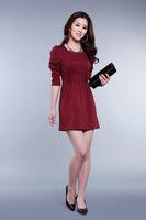2014 New Spring Or Summer Women Solid O-Neck Puff Sleeve Sheath Brief Dress