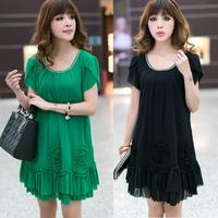 2014 4XL 3XL black green plus size fat women fashion bohemian casual summer loose dresses sundress vestidos robe abiti estivi
