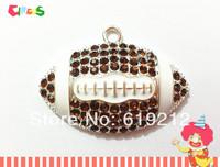 Wholesale 53mm 10pcs/lot  Brown Football  Rhinestone pendants