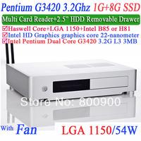 "X64 mini desktop pc with Intel Pentium Dual Core G3420 3.2Ghz alluminum 2.5"" HDD drawer Multi card reader Haswell 1G RAM 8G SSD"
