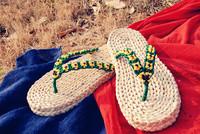 2014 New Summer Casual Straw Braid Slipper Flip Flops Sandals Handmade Male Corn Husks Green Slipper Fashion Shoes Green Belt