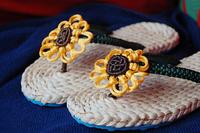 2014 Summer New Eco-friendly Green Slipper Straw Corn Husks Flip Flops Handmade Sandals Slippers Female Fashion Sunflower Rubbe