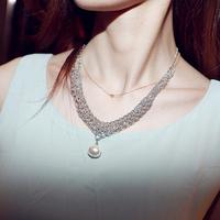 Free shipping!!   Fashion Vintage beautiful freshwater pearl silver necklace female rhinestone pendant necklace