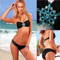 2014 New Sexy Bikini dress Women Swimwear black VS push up Beachwear Fashion Summer Collection Swimsuit Gift