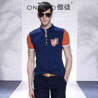 new arrival 2014 men big size fashionable new famous brand casual t shirt moda camisetas short sleeve leather pocket tee shirts