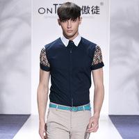 men big plus size famous brand casual shirts 2014 mens luxury shirt splice print short sleeve moda blusas masculinas