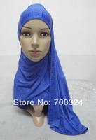 H710 latest top quality cotton elastic jersey long scarf with rhinestones, mixed colors