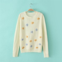 2014 new European and American women's spot in spring flowers embroidered round neck pullover women gy-2370