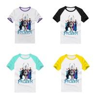 New Arrival Frozen T-shirt Cartoon Family Father's Shirts Princess Anna Queen Elsa Kristoff Olaf Sven tshirt 14 Choices