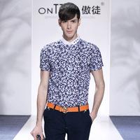 fashion mens big plus size casual shirts 2014 men wear luxury shirt tops print short sleeve moda blusas masculinas