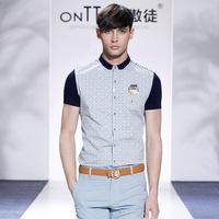 XXXL plus size men fashionable casual shirts 2014 slim fit men brand check dot shirt cotton men's clothing moda camisas