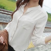 new women porcelain chiffon blouses shirts spring 2014 clothing ladies casual blusas femininas long sleeved feminine blouse