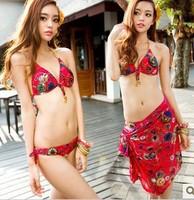 2014 new sexy bikini price for bikini and skirt swimwear bathing suit red cool punk metal style !