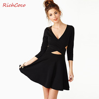 2014 Natural Jersey Knee-length Direct Selling Dresses Deep V-neck Breast Cross Backless of Sleeve Pure Color Lycra Dress A-line