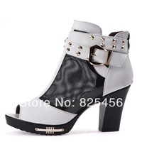 hot-sell 2014summer cowhide female sandals cool boots open toe boots  medium-leg boots comfortable boots Free shipping
