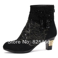 hot-sell 2014 women's shoes leather spring and autumn boots fashion lace cool boots cutout mesh boots single