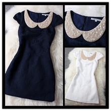 2014 la nueva manera de la perla de lentejuelas Rhinestone collar de Peter Pan de la flor del bordado del vestido recta Para las mujeres azules blancos vestidos de baile(China (Mainland))