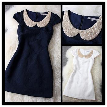 2015 новинка жемчужные блестки горный хрусталь питер пэн воротник цветок вышивка прямо платье для женщин синий белый выпускного вечера платья