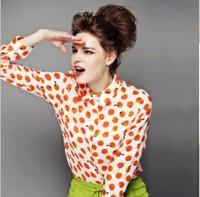 Spring 2014 new European and American wholesale orange print chiffon long-sleeved shirt yh-2430