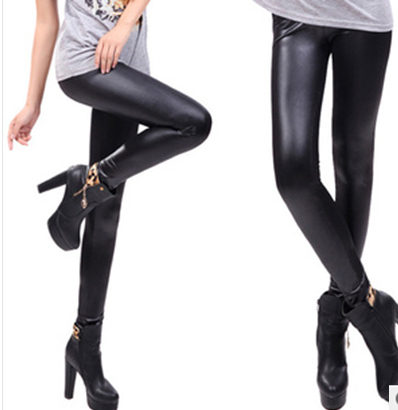New 2014 Free shipping Spring Korean the candy color elastic waist Slim classic fashion high elastic flat leather pants Leggings(China (Mainland))