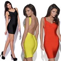 2pc get 5% off!2014 Summer Women Sexy Bandage Dress Mini Sheath Hip Bodycon Backless Dresses Night club Vestidos 4 Color S-XXL
