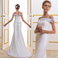 2014 new arrival slim mermaid wedding dresses  fish tail lace top wedding dress short trailing slit neckline