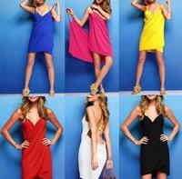 New 2014 summer cover-ups women's cotton dress/fashion sexy women's holiday Beach skirt sundress suspender skirt/6 colors/WOQ