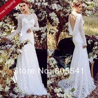 2014 Unique Scoop Long Sleeve Backless Lace A Line Transparent Wedding Dresses vestido de noiva White Backless Bridal Gown W2668