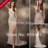 2014 Unique Sweetheart Front Split Lace A-Line Beaded Bridal Gowns vestido de noiva Blush Wedding Dress W10200