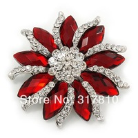 2 Inch Vintage Style Clear Rhinestone Crystal Silver Brooch with Red Marquise Crystals