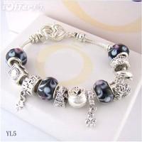 Charm Chamilia bracelet 925 silver crystal charm bracelet for woman.silver chamilia beads bracelets.free shipping