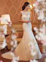 wedding dress 2014 double-shoulder lace fish tail slim vintage royal racerback short trailing mermaid wedding dresses