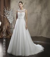 2014 new  lace transparent o-neck gentlewomen elegant exquisite belt short trailing princess wedding dress