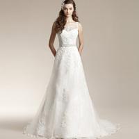 Short Wedding Dress New Arrival 2015 Elegant Luxury Double-shoulder A-line Skirt Trailing The Bride Married Lacy Wedding Dress