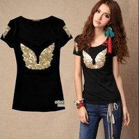 fashion women 2014 clothes angel wings Sequin cotton short sleeve slim large size women t-shirt new 2014 women's t-shirts