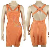 70% Discount!  Free Ship Orange Criss-Cross Sleeveless Elastic Knitted bandage dress Evening Dress Bandage Women Celebrity Dress
