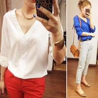 women blouses autumn 2014 new V Neck Sexy Rivet Loose Chiffon Shirt Blouse Tops White Black Blue Free Shipping shirts womens
