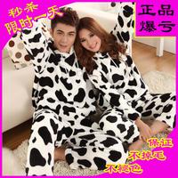 Autumn and winter thickening cartoon milk cow sleepwear coral fleece lovers lounge long-sleeve flannel sleepwear