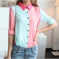 shirts womens autumn 2014 new peplum blouse fashion candy color patchwork long sleeve chiffon shirt   shirts S,M,L