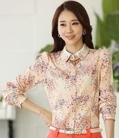 New 2014 flower blouse autumn summer fashion woman floral print Chiffon Blouse Lady shirt leisure plus size women work wear S~XL