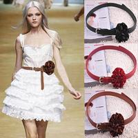 2014 New arrival Fashion Silk Rose Flower Faux leather belts for women female belts GC9