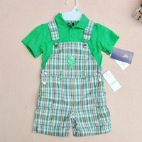 Free shipping 2014 New Summer Retail Sale Baby boys Short Sleeve Polo t-shirts+Overalls 2 pcs clothing set Infant Clothes suit