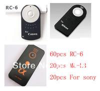 Free shipping (total 100pcs/lot) 60pcs RC-6 and 20pcs ML-L3,20pcs for sony remote control