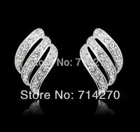 2014 statement 18K sterling silver plate GP Austrian Zircon Crystal feather women Stud earrings