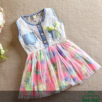 Momo - Children's clothing girls summer dresses 2014, Korean version lace vest dress, pricness dresses, 4pcs/lot free shipping
