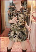 2014 spring women's plus size slim one-piece dress o-neck long-sleeve chiffon elegant basic skirt